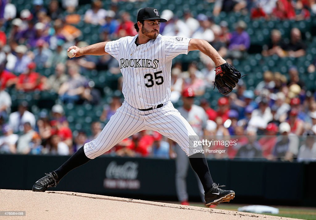 Starting pitcher Chad Bettis #35 of the Colorado Rockies delivers against the St. Louis Cardinals at Coors Field on June 10, 2015 in Denver, Colorado.
