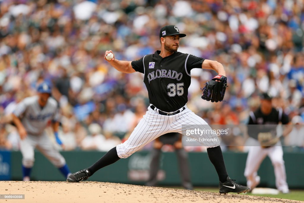 Starting pitcher Chad Bettis #35 of the Colorado Rockies delivers to home plate during the third inning against the Los Angeles Dodgers at Coors Field on June 3, 2018 in Denver, Colorado.