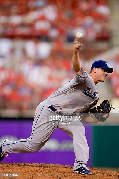 Starting pitcher Chad Billingsley of the Los Angeles Dodgers throws against the St Louis Cardinals at Busch Stadium on July 16 2010 in St Louis...