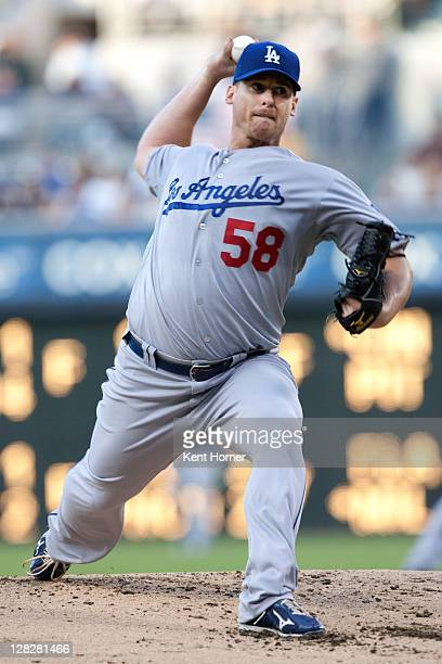 Starting pitcher Chad Billingsley of the Los Angeles Dodgers throws the ball during the first inning of the game against the San Diego Padres at...