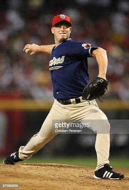 Starting pitcher Chad Gaudin of the San Diego Padres pitches against the Arizona Diamondbacks during the major league baseball game at Chase Field on...
