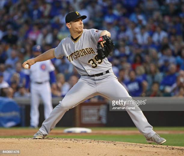 Starting pitcher Chad Kuhl of the Pittsburgh Pirates delivers the ball against the Chicago Cubs at Wrigley Field on August 29 2017 in Chicago Illinois