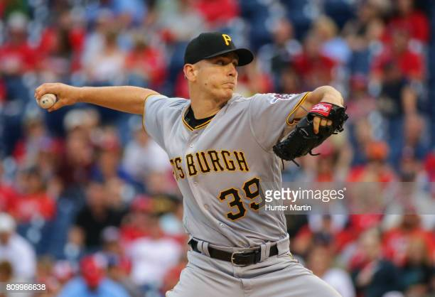 Starting pitcher Chad Kuhl of the Pittsburgh Pirates throws a pitch in the first inning during a game against the Philadelphia Phillies at Citizens...