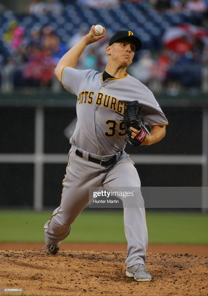 Starting pitcher Chad Kuhl #39 of the Pittsburgh Pirates throws a pitch in the second inning during a game against the Philadelphia Phillies at Citizens Bank Park on July 6, 2017 in Philadelphia, Pennsylvania.