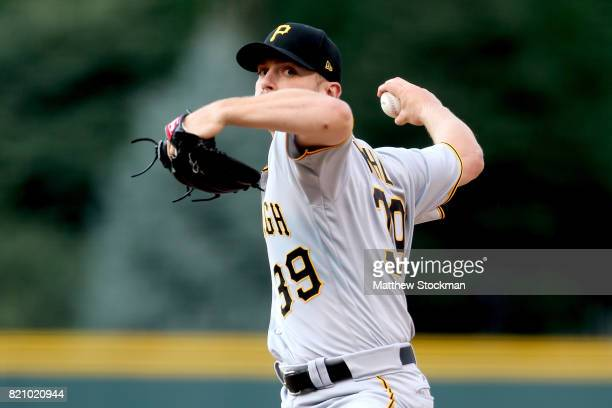 Starting pitcher Chad Kuhl of the Pittsburgh Pirates throws in the first inning against the Colorado Rockies at Coors Field on July 22 2017 in Denver...