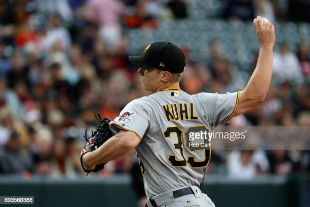 Starting pitcher Chad Kuhl of the Pittsburgh Pirates throws to a Baltimore Orioles batter in the first inning at Oriole Park at Camden Yards on June...