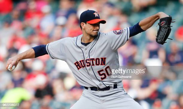 Starting pitcher Charlie Morton of the Houston Astros pitches against the Cleveland Indians during the first inning at Progressive Field on May 24...