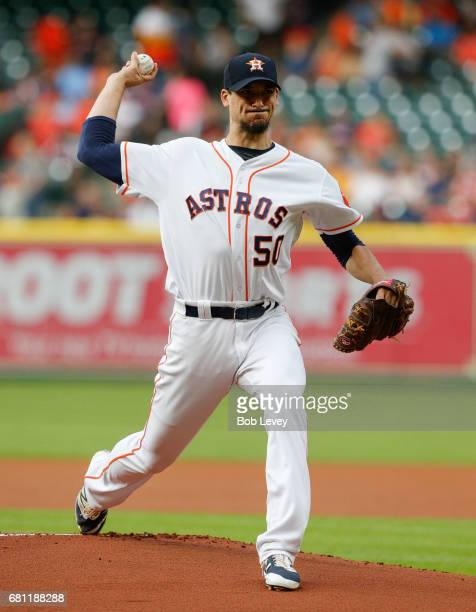 Starting pitcher Charlie Morton of the Houston Astros pitches in the first inning against the Atlanta Braves at Minute Maid Park on May 9 2017 in...