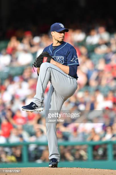 Starting pitcher Charlie Morton of the Tampa Bay Rays pitches during the first inning against the Cleveland Indians at Progressive Field on May 25...