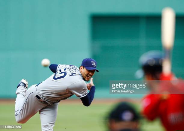 Starting pitcher Charlie Morton of the Tampa Bay Rays pitches in the bottom of the third inning of the game against the Boston Red Sox at Fenway Park...