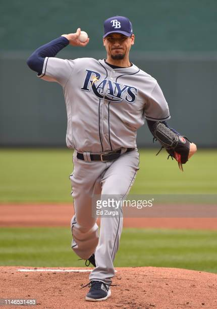 Starting pitcher Charlie Morton of the Tampa Bay Rays throws as he warms up in the first inning against the Kansas City Royals at Kauffman Stadium on...