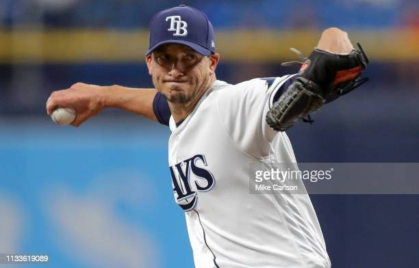 Starting pitcher Charlie Morton of the Tampa Bay Rays throws in the first inning of a baseball game against the Houston Astros at Tropicana Field on...