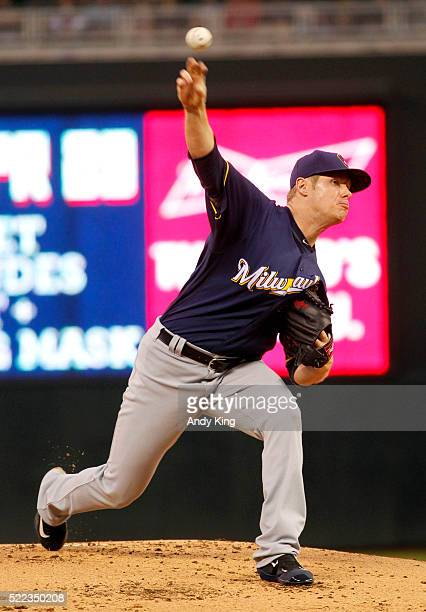 Starting pitcher Chase Anderson of the Milwaukee Brewers throws against the Minnesota Twins in the first inning of the game on April 18 2016 at...
