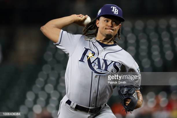 Starting pitcher Chris Archer of the Tampa Bay Rays works the first inning against the Baltimore Orioles at Oriole Park at Camden Yards on July 27...