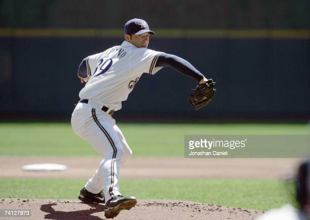 Starting pitcher Chris Capuano of the Milwaukee Brewers delivers the pitch against the St. Louis Cardinals on May 2, 2007 at Miller Park in...