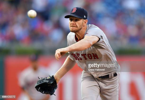 Starting pitcher Chris Sale of the Boston Red Sox delivers a pitch in the second inning against the Philadelphia Phillies at Citizens Bank Park on...