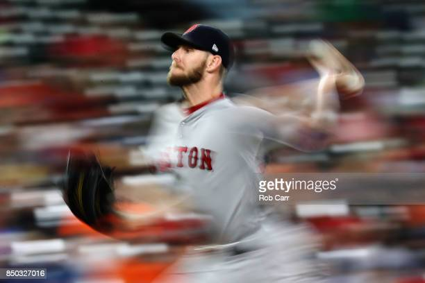 Starting pitcher Chris Sale of the Boston Red Sox throws to a Baltimore Orioles batter in the second inning at Oriole Park at Camden Yards on...