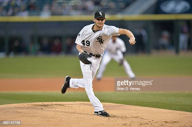 Starting pitcher Chris Sale of the Chicago White Sox delivers during the first inning against the Cleveland Indians at US Cellular Field on April 11...
