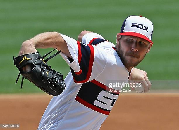 Starting pitcher Chris Sale of the Chicago White Sox delivers the ball against the Toronto Blue Jays at US Cellular Field on June 26 2016 in Chicago...