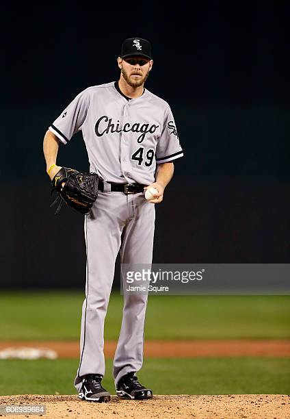 Starting pitcher Chris Sale of the Chicago White Sox warms up prior to the 3rd inning of the game against the Kansas City Royals at Kauffman Stadium...