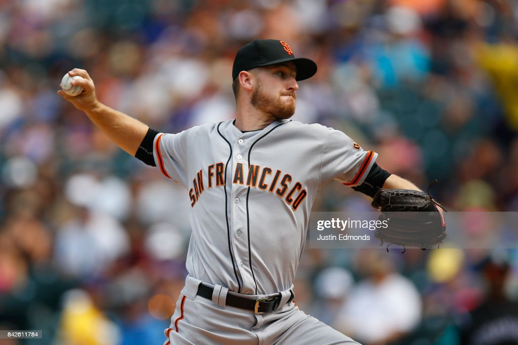 Starting pitcher Chris Stratton #34 of the San Francisco Giants delivers to home plate during the first inning against the Colorado Rockies at Coors Field on September 4, 2017 in Denver, Colorado.
