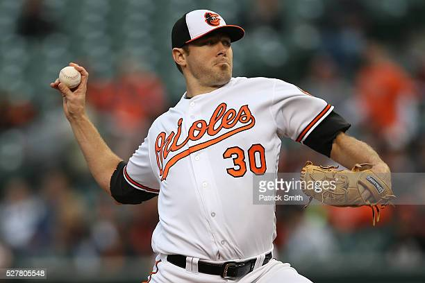 Starting pitcher Chris Tillman of the Baltimore Orioles works the first inning against the New York Yankees at Oriole Park at Camden Yards on May 3...