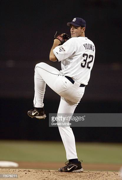 Starting Pitcher Chris Young of the San Diego Padres throws from the mound in the bottom of the 1st inning against the Colorado Rockies during their...