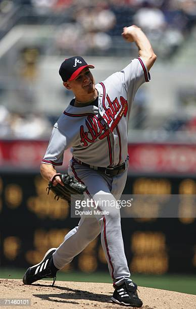 Starting pitcher Chuck James of the Atlanta Braves throws from the mound against the San Diego Padres on July 16, 2006 at PETCO Park in San Diego,...