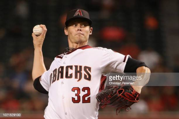 Starting pitcher Clay Buchholz of the Arizona Diamondbacks pitches against the Los Angeles Angels during the third inning of the MLB game at Chase...