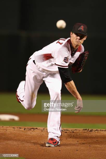 Starting pitcher Clay Buchholz of the Arizona Diamondbacks throws a warm up pitch during the MLB game against the Los Angeles Angels at Chase Field...