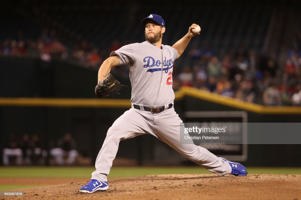 Starting pitcher Clayton Kershaw #22 of the Los Angeles Dodgers pitches against the Arizona Diamondbacks during the first inning of the MLB game at Chase Field on May 1, 2018 in Phoenix, Arizona.