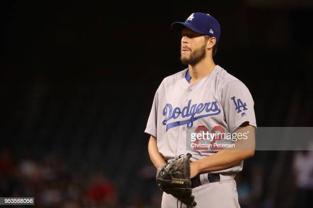 Starting pitcher Clayton Kershaw of the Los Angeles Dodgers pitches against the Arizona Diamondbacks during the first inning of the MLB game at Chase...