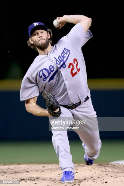 Starting pitcher Clayton Kershaw of the Los Angeles Dodgers throws in the first inning against the Coloarado Rockies at Coors Field on September 30...