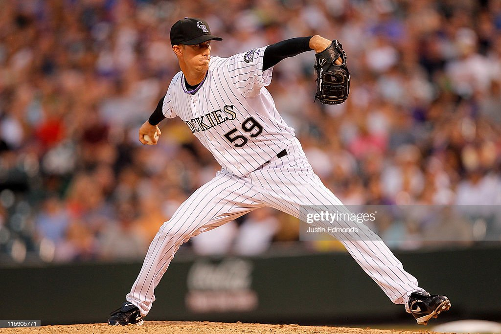 Starting pitcher Clayton Mortensen #59 of the Colorado Rockies works the seventh inning against the Los Angeles Dodgers at Coors Field on June 11, 2011 in Denver, Colorado.