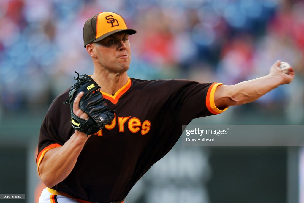 Starting pitcher Clayton Richard #3 of the San Diego Padres delivers a pitch in the second inning during the game against the Philadelphia Phillies at Citizens Bank Park on July 7, 2017 in Philadelphia, Pennsylvania.