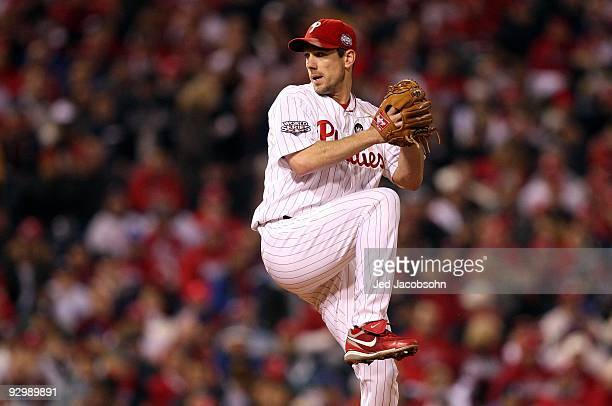 Starting pitcher Cliff Lee of the Philadelphia Phillies throws a pitch against the New York Yankees in Game Five of the 2009 MLB World Series at...