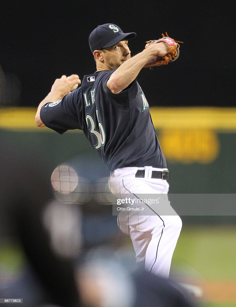 Starting pitcher Cliff Lee #36 of the Seattle Mariners pitches against the Texas Rangers at Safeco Field on April 30, 2010 in Seattle, Washington.