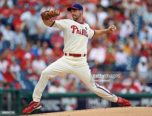 Starting pitcher Cliff Lee throws the ball during the game against the Colorado Rockies on August 6, 2009 at Citizens Bank Park in Philadelphia,...