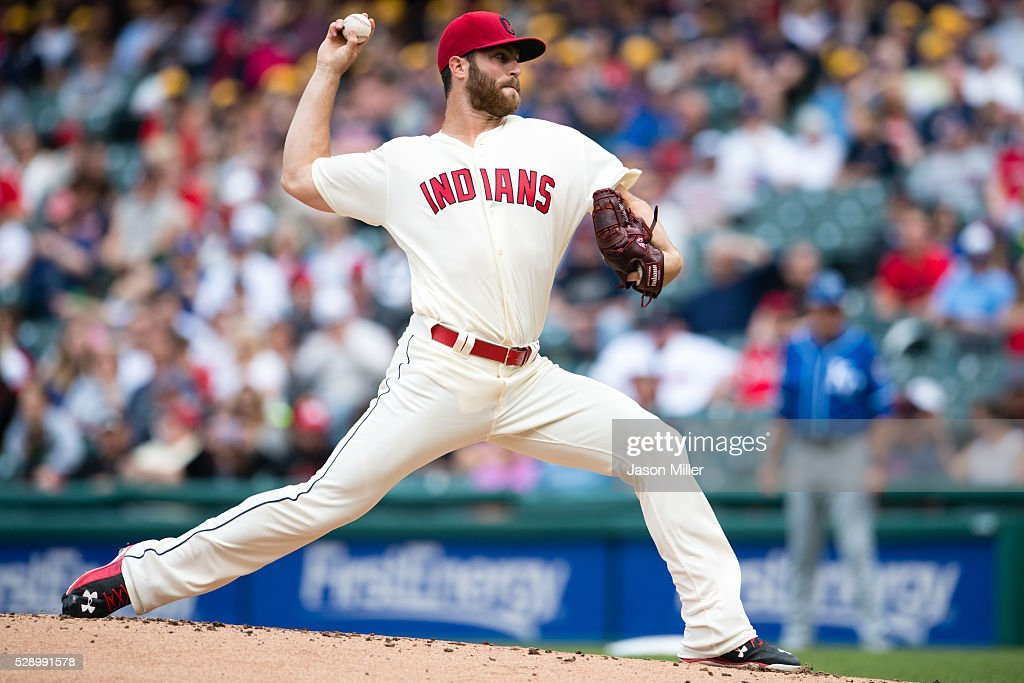 Starting pitcher Cody Anderson #56 of the Cleveland Indians pitches during the first inning against the Kansas City Royals at Progressive Field on May 7, 2016 in Cleveland, Ohio.