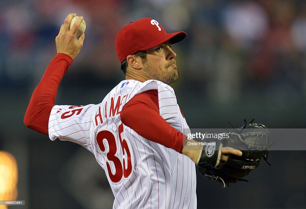Starting pitcher Cole Hamels #35 of the Philadelphia Phillies delivers a pitch during the game against the St. Louis Cardinals at Citizens Bank Park on April 18, 2013 in Philadelphia, Pennsylvania.