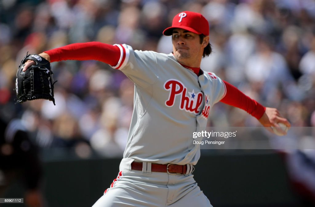 Starting pitcher Cole Hamels #35 of the Philadelphia Phillies delivers against the Colorado Rockies during MLB action on Opening Day at Coors Field on April 10, 2009 in Denver, Colorado.