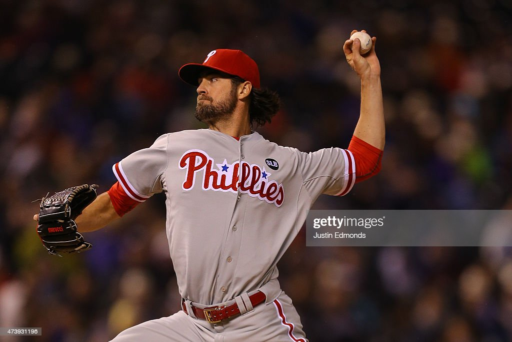 Starting pitcher Cole Hamels #35 of the Philadelphia Phillies delivers to home plate during the fifth inning against the Colorado Rockies at Coors Field on May 18, 2015 in Denver, Colorado.