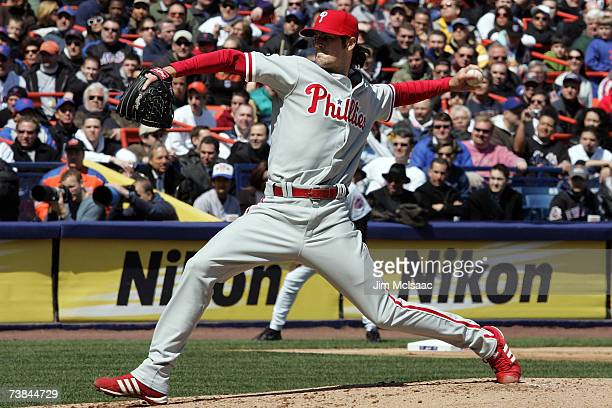 Starting pitcher Cole Hamels of the Philadelphia Phillies pitches against the New York Mets against during the home opener at Shea Stadium on April 9...