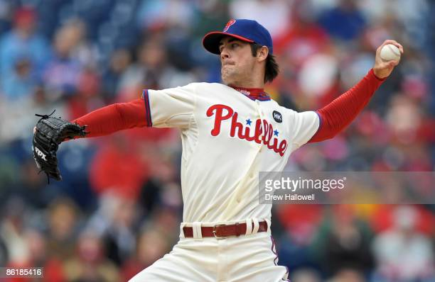 Starting pitcher Cole Hamels of the Philadelphia Phillies throws a pitch during the game against the Milwaukee Brewers on April 23, 2009 at Citizens...