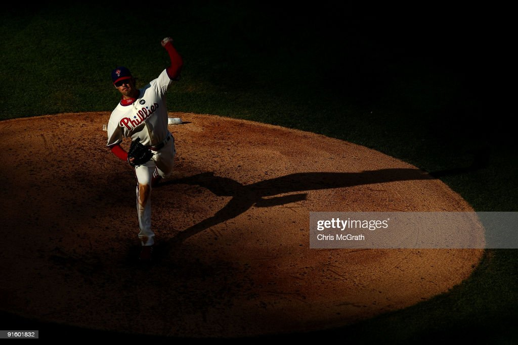 Starting pitcher Cole Hamels #35 of the Philadelphia Phillies throws a pitch against the Colorado Rockies in Game Two of the NLDS during the 2009 MLB Playoffs at Citizens Bank Park on October 8, 2009 in Philadelphia, Pennsylvania.