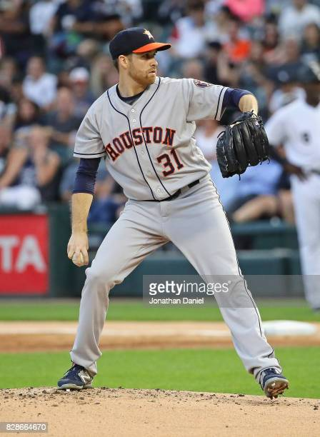 Starting pitcher Collin McHugh of the Houston Astros delivers the ball against the Chicago White Sox at Guaranteed Rate Field on August 9 2017 in...