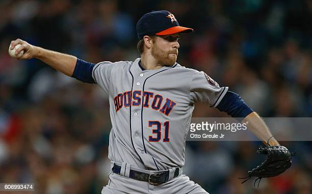 Starting pitcher Collin McHugh of the Houston Astros pitches against the Seattle Mariners in the first inning at Safeco Field on September 16 2016 in...