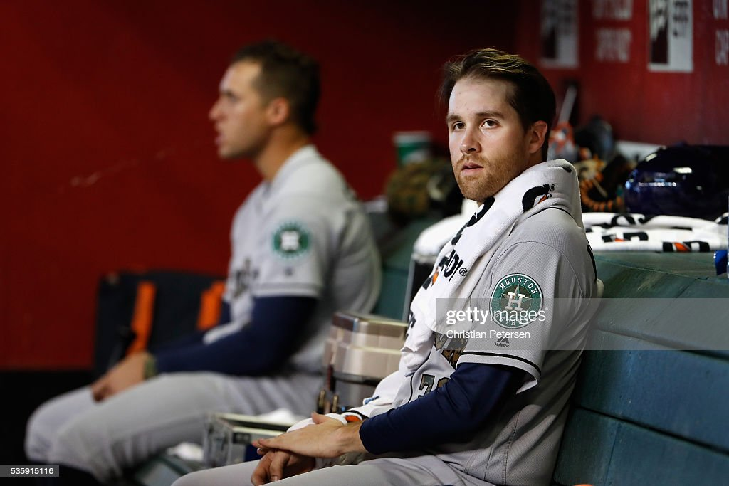 Starting pitcher Collin McHugh #31 of the Houston Astros watches from the dugout during the MLB game against the Arizona Diamondbacks at Chase Field on May 30, 2016 in Phoenix, Arizona.
