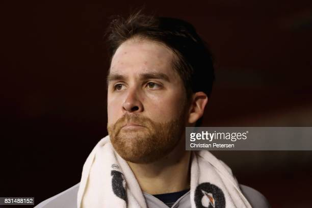 Starting pitcher Collin McHugh of the Houston Astros watches from the dugout after being removed in the sixth inning of the MLB game against the...
