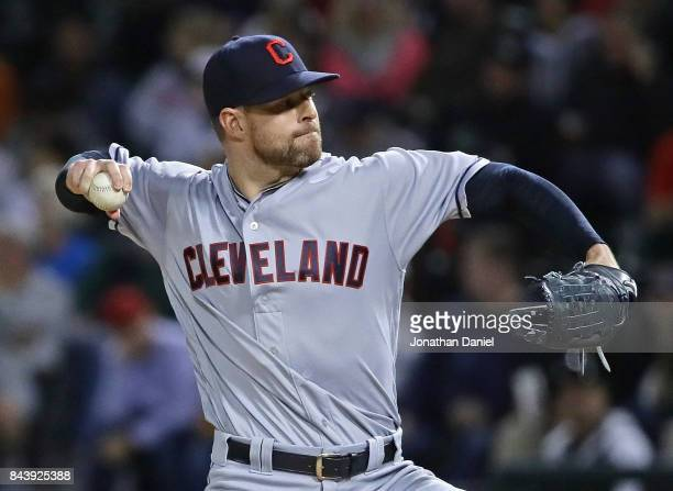 Starting pitcher Corey Kluber of the Cleveland Indians delivers the ball against the Chicago White Sox at Guaranteed Rate Field on September 7 2017...